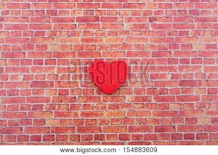 Heart Shape Icon On A Brick Wall