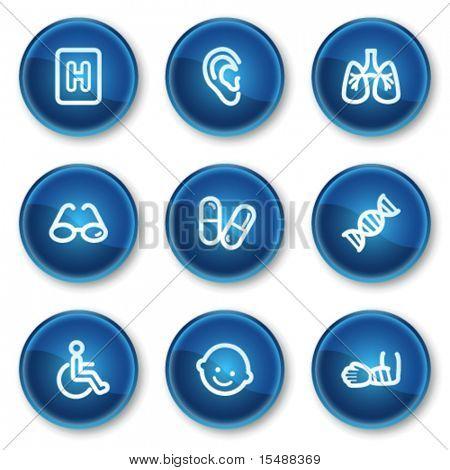 Medicine web icons set 2, blue circle buttons