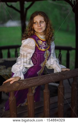 A young Slavic woman in national costume.