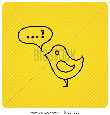 Bird with speech bubble icon. Chat talk sign. Cute small fowl symbol. Linear icon on orange background. Vector