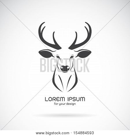 Vector image of a deer head design on white background Vector deer logo. Wild Animals.