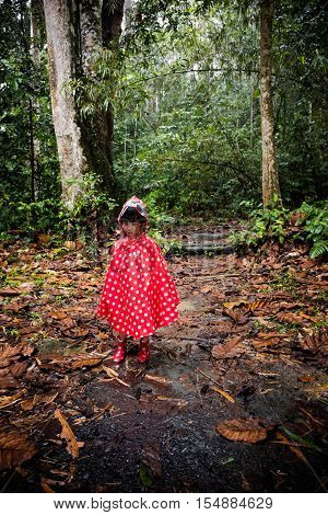 Asian Chinese Little Girl Wearing Raincoat In The Forest