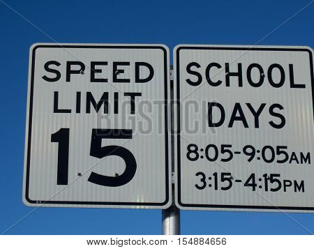 15 MPH School Speed Limit Sign in Lake Wales Florida