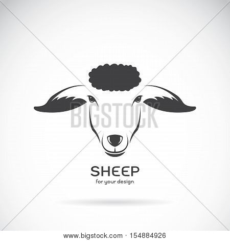 Vector image of a sheep head design on white background Vector sheep logo. Farm Animals.