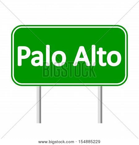 Paro Alto green road sign isolated on white background
