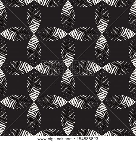 Vector Seamless Black And White Stippling Arc Circle Shapes Gradient Halftone Dot Work Pattern Abstract Background