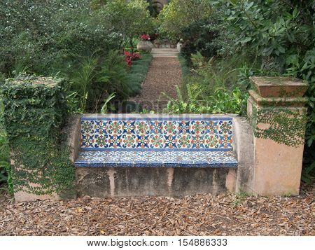 Colorful park bench at Bok Tower in Lake Wales Central Florida area