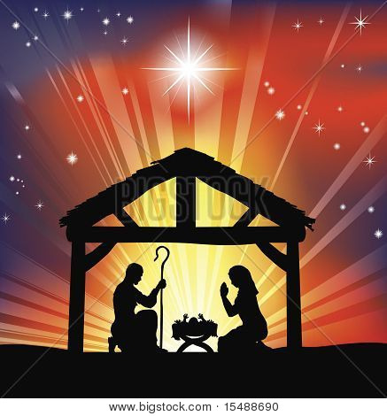 Traditional Christian Christmas Nativity Scene