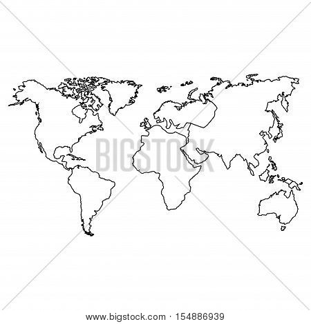 silhouette of world map icon. atlas worldwide over white background. vector illustration