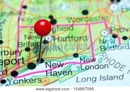 New Haven pinned on a map of Connecticut, USA