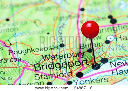 Bridgeport pinned on a map of Connecticut, USA