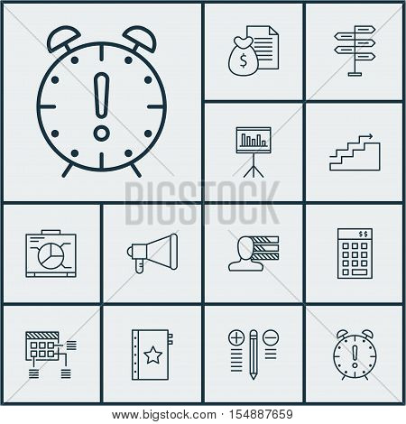 Set Of Project Management Icons On Personal Skills, Investment And Warranty Topics. Editable Vector