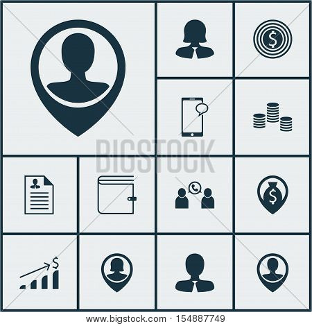 Set Of Hr Icons On Wallet, Business Woman And Curriculum Vitae Topics. Editable Vector Illustration.