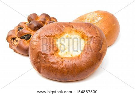 Homemade pasty fastfood isolated on white background