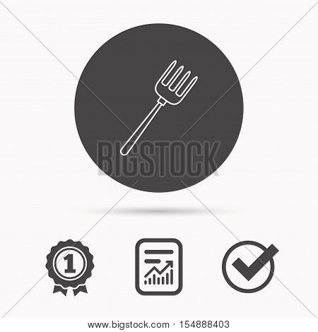 Pitchfork icon. Agriculture sign symbol. Report document, winner award and tick. Round circle button with icon. Vector