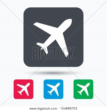 Plane icon. Flight transport symbol. Colored square buttons with flat web icon. Vector