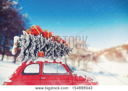 3D Rendering car with Christmas tree and gifts on the roof
