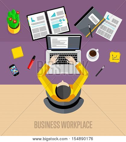 Top view business workplace, vector illustration. Overhead view of businessman working on laptop at office desk. Business people background. Workspace banner in flat style.