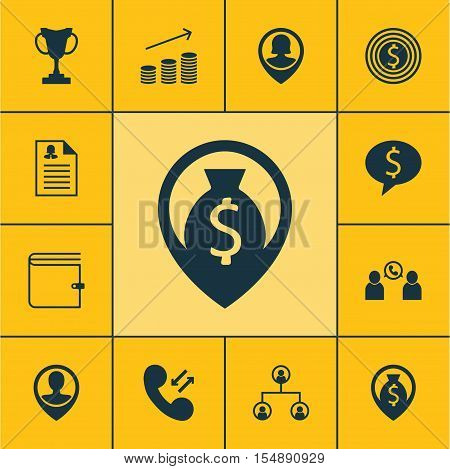 Set Of Human Resources Icons On Wallet, Business Goal And Pin Employee Topics. Editable Vector Illus