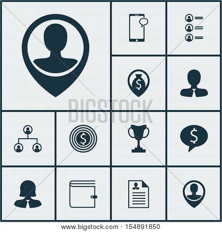 Set Of Hr Icons On Business Deal, Employee Location And Tree Structure Topics. Editable Vector Illus