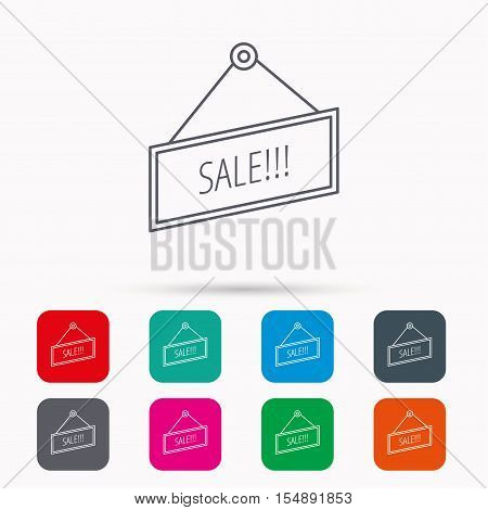 Sale icon. Advertising banner tag sign. Linear icons in squares on white background. Flat web symbols. Vector