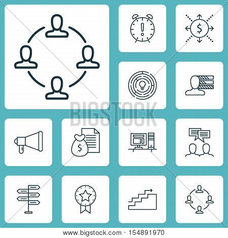 Set Of Project Management Icons On Present Badge, Discussion And Growth Topics. Editable Vector Illu