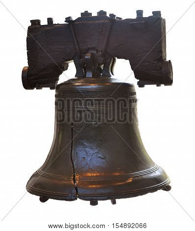 Liberty Bell isolated in Philadelphia, Pennsylvania, USA.