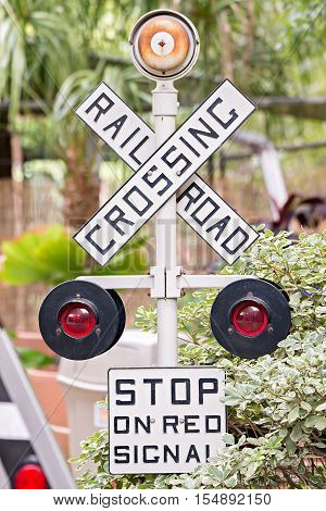 rail road crossing sign and signals and gate