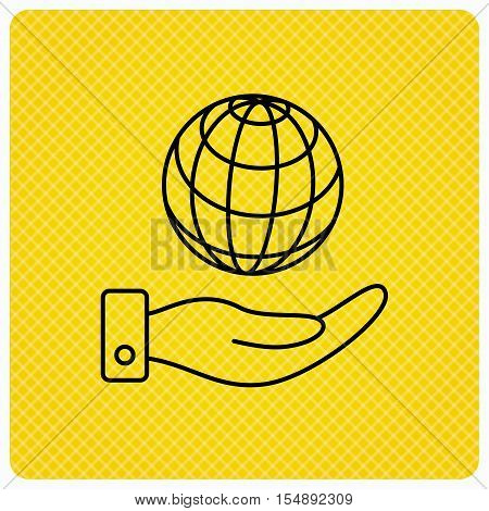 Save planet icon. Hand with globe sign. Ecology environment symbol. Linear icon on orange background. Vector