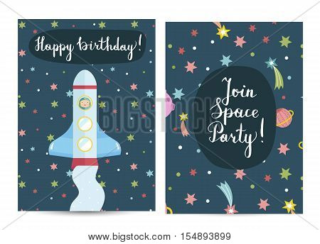 Happy birthday cartoon greeting card on space theme. Rocket with astronaut on boar flying in cosmos among stars, planets and comets vector illustration. Bright invitation on childrens costumed party