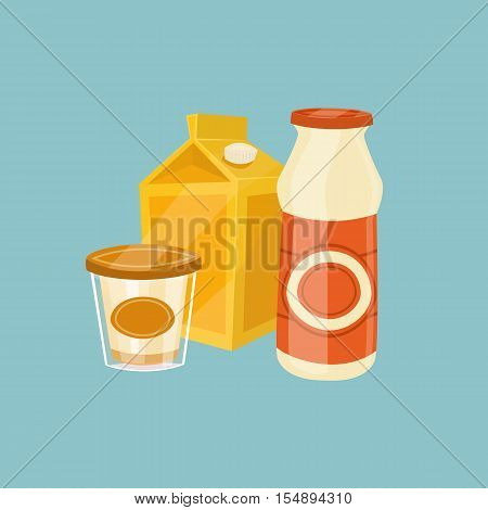 Assortment of dairy products isolated on blue background, vector illustration. Nutritious and healthy milk products. Natural and healthy food. Organic farmers products. Dairy icon.