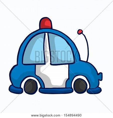 Police car funny vector illustration for kids design