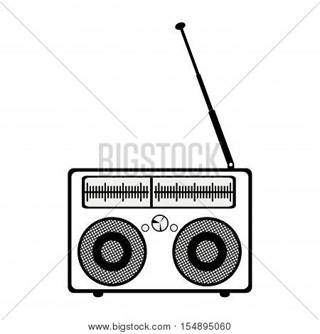 silhouette of retro radio portable icon with antenna over white background. vector illustration