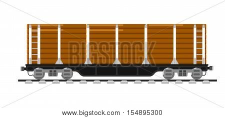 Railway wagon isolated on white background vector illustration. Railroad transport design element. Side view freight container. Cargo train on railroad. Rail carriage in flat design