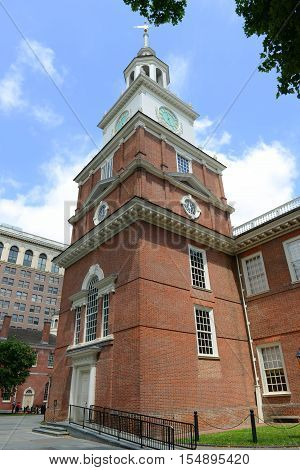 Independence Hall front facade in old town Philadelphia, Pennsylvania, USA.