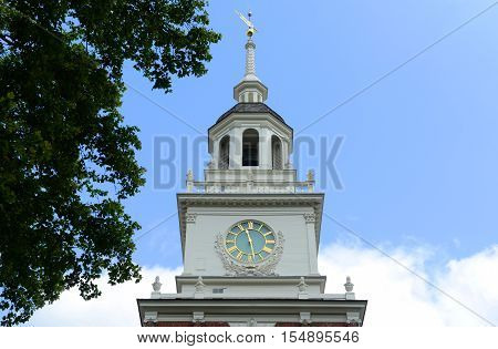 The bell tower atop Independence Hall, formerly home to the Liberty Bell, Philadelphia, Pennsylvania, USA