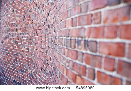 curved brick wall. curve red brick wall perspective for a background