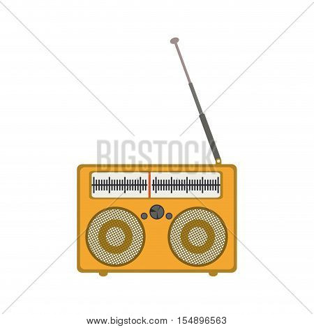 retro yellow radio portable icon with antenna over white background. vector illustration