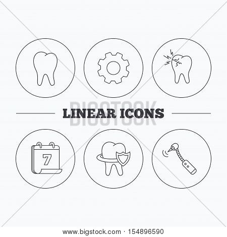 Tooth, toothache and drilling tool icons. Teeth protection linear sign. Flat cogwheel and calendar symbols. Linear icons in circle buttons. Vector