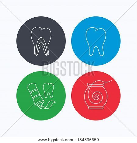 Tooth, dentinal tubules and dental floss icons. Toothpaste linear sign. Linear icons on colored buttons. Flat web symbols. Vector