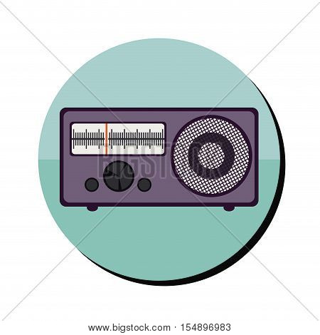 blue button with retro radio portable icon inside over white background. vector illustration
