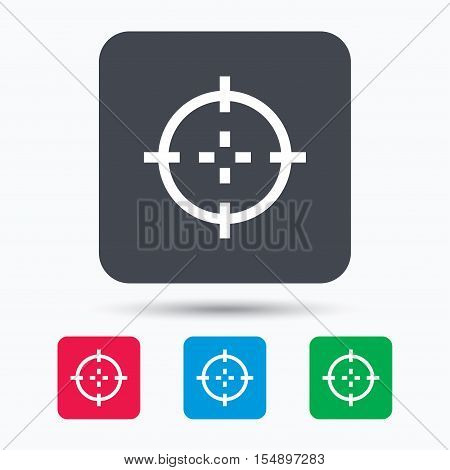 Target icon. Crosshair aim symbol. Colored square buttons with flat web icon. Vector