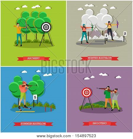 Sport shooting posters. Biathlon, gun shooting, archery competition games vector illustration. People in shooting positions.