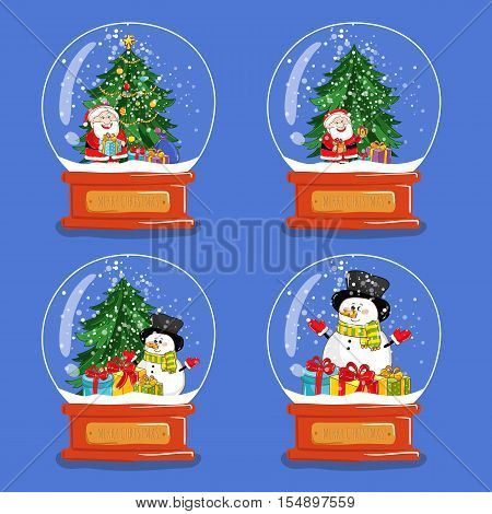 Christmas snow globe. Christmas trees in snow globe. Xmas snow globe and christmas tree characters. Merry Christmas and Happy New Year concepts. Isolated christmas snow globe with christmas tree. Cartoon snow globe with christmas tree. Snow globe icons.