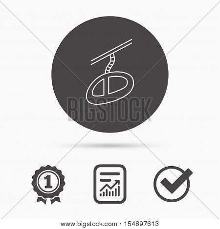 Teleferic icon. Telpher cable-railway sign. Report document, winner award and tick. Round circle button with icon. Vector