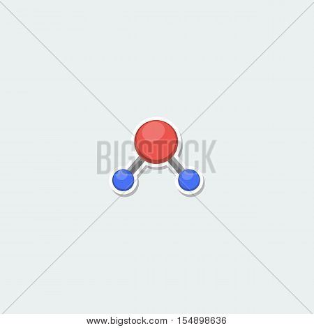 Science symbol - atom structure. School education, science research, nuclear physics colorful single icon. Atom structure on white background vector illustration in flat design. Atom structure icon. Cartoon atom structure. Isolated atom structure.