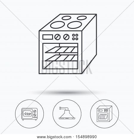 Microwave oven, dishwasher and kitchen hood icons. Oven linear sign. Linear icons in circle buttons. Flat web symbols. Vector