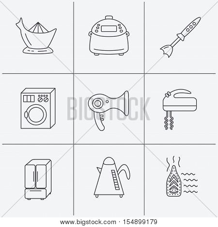 Washing machine, teapot and blender icons. Refrigerator fridge, juicer and steam ironing linear signs. Hair dryer, juicer icons. Linear icons on white background. Vector