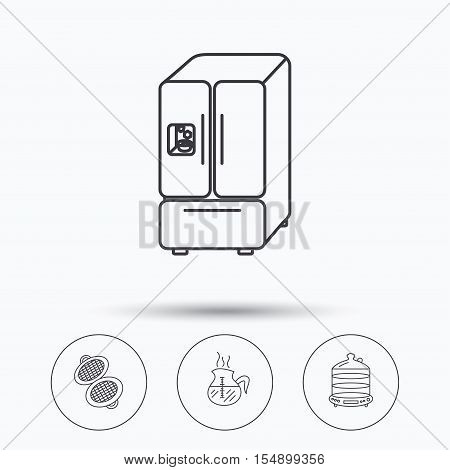 Waffle-iron, coffee and steamer icons. American style fridge linear signs. Linear icons in circle buttons. Flat web symbols. Vector