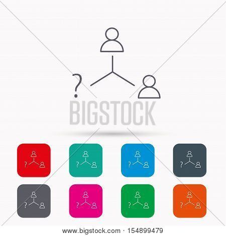 Vacancy or hire job icon. Teamwork sign. Question mark symbol. Linear icons in squares on white background. Flat web symbols. Vector